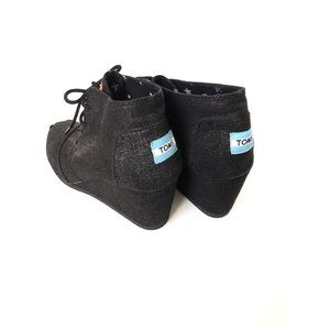 Tom's Black Shimmer Wedge Ankle Booties